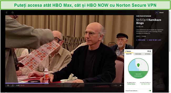 Captură de ecran a Norton Secure VPN care deblochează HBO Max și streaming Curb Your Enthusiasm.