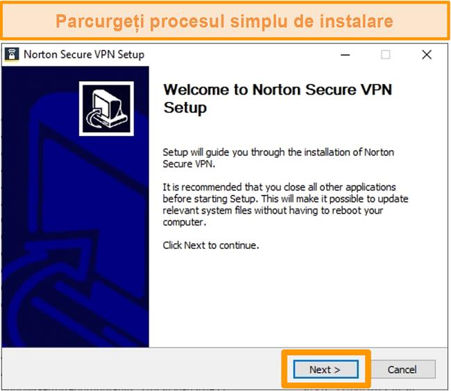Captură de ecran a primului pas al procesului de instalare Windows al Norton Secure VPN.