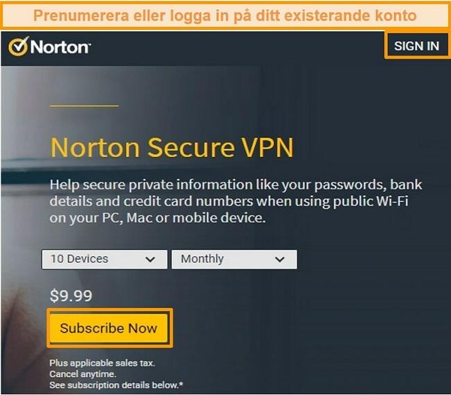 Skärmdump av Norton Secure VPNs inköpssida.