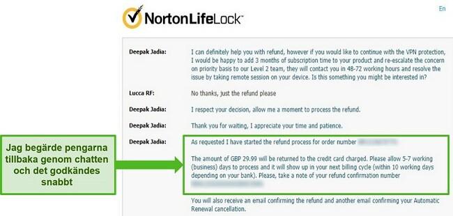 Skärmdump för att begära återbetalning via Norton Secure VPNs 24/7 livechatt