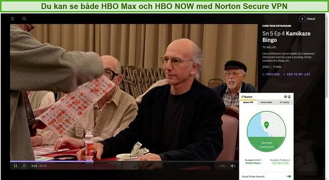Skärmdump av Norton Secure VPN som avblockerar HBO Max och strömmar Curb Your Enthusiasm.