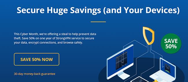 Screenshot of StrongVPN Black Friday/Cyber Monday Deal