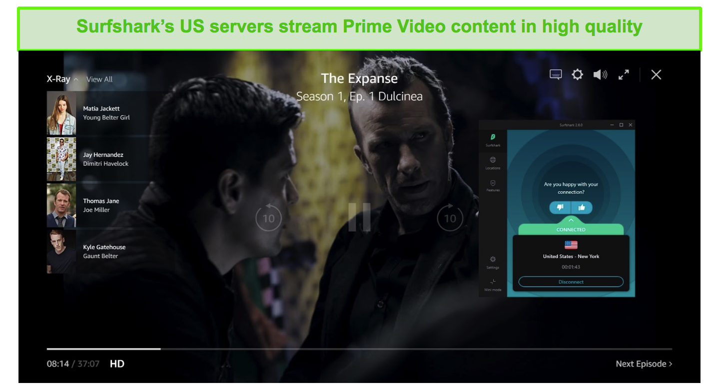 Screenshot of Surfshark connected to a US server and unblocking The Expanse on Prime Video US