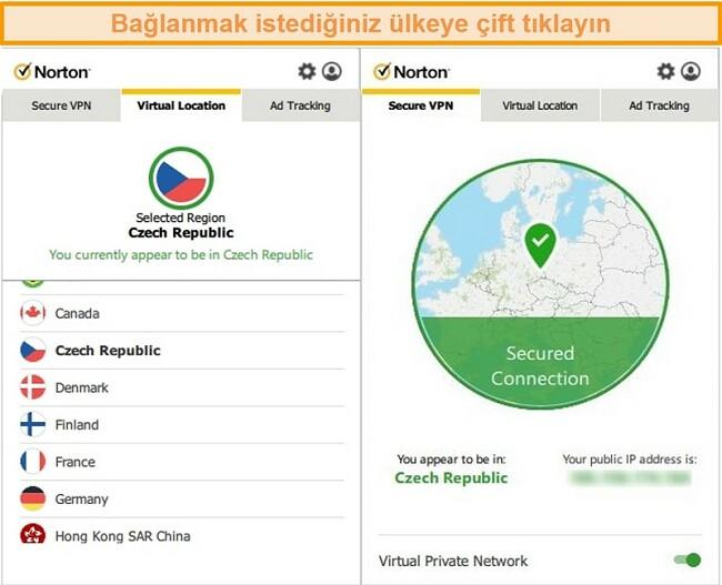Çek Cumhuriyeti'ndeki bir sunucuya bağlı Norton Secure VPN'in ekran görüntüsü.