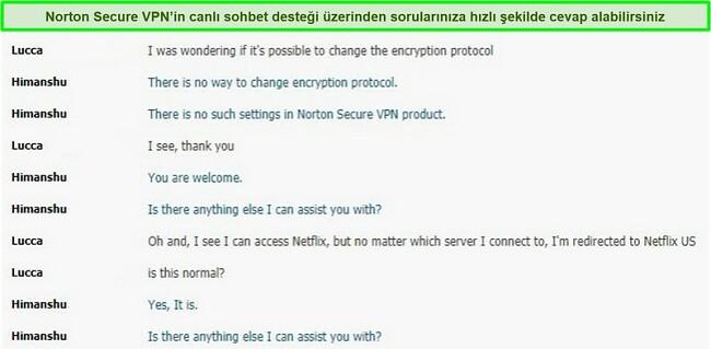 Norton Secure VPN desteğiyle canlı sohbet görüşmesinin ekran görüntüsü.