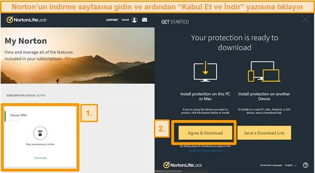 Norton Secure VPN'ler My Norton ve indirme sayfalarının ekran görüntüleri.