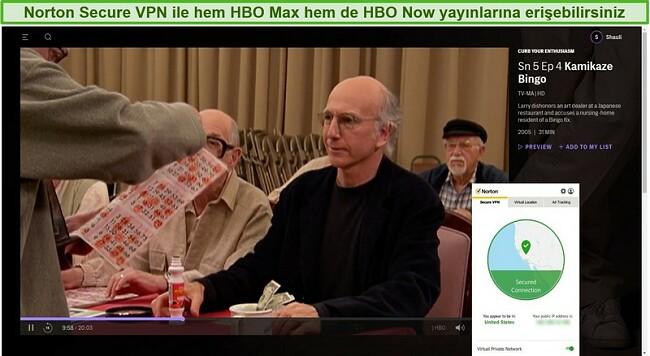 Norton Secure VPN'in HBO Max'in engelini kaldırması ve Canlı İzlemenin Tutkunuzu Azaltması'nın ekran görüntüsü.