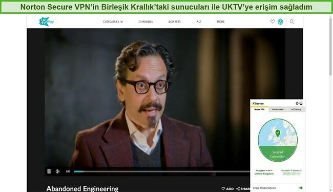 Norton Secure VPN'nin UKTV engelini kaldıran ve Abandoned Engineering'i izleyen ekran görüntüsü.