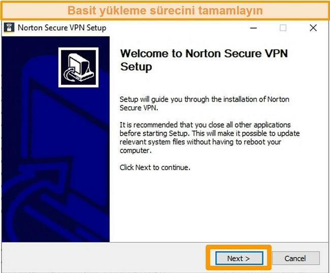 Norton Secure VPN'nin Windows yükleme işleminin ilk adımının ekran görüntüsü.