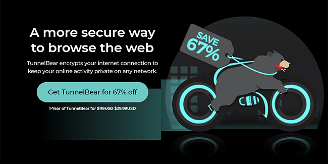 Screenshot of TunnelBear Black Friday/Cyber Monday Deal