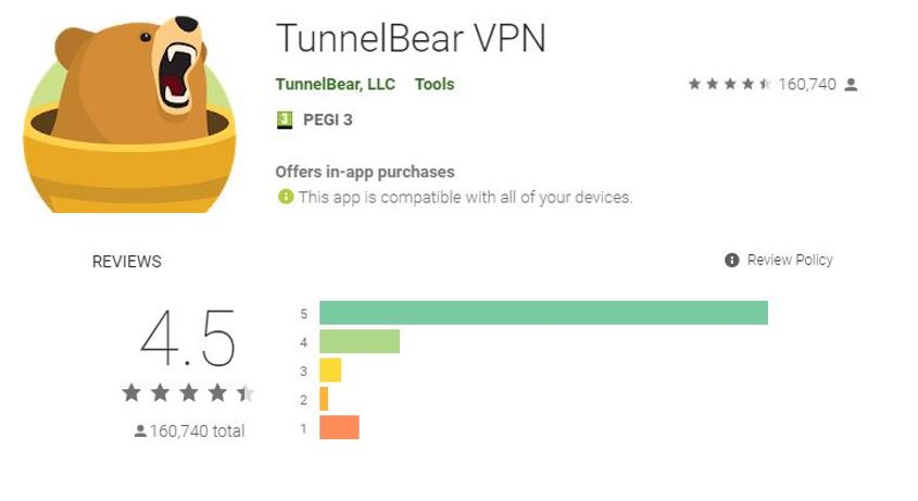 TunnelBear google Play