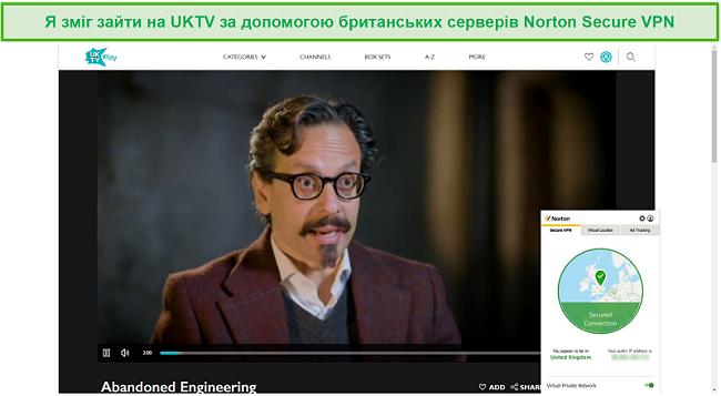 Знімок екрана Norton Secure VPN, який розблоковує UKTV та потокове передавання Покинутої техніки.