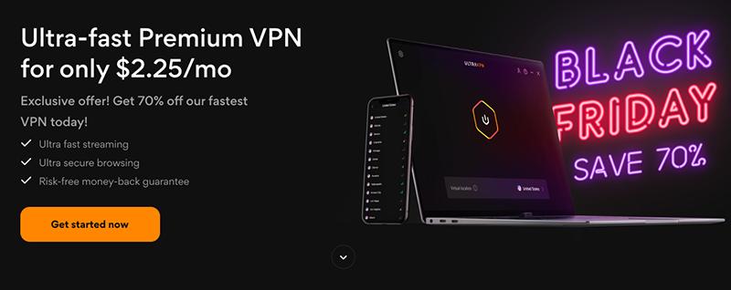 Screenshot of UltraVPN's Black Friday/Cyber Monday Deal