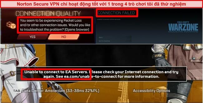 Ảnh chụp màn hình Norton Secure VPN gây ra sự cố kết nối trong trò chơi trực tuyến.