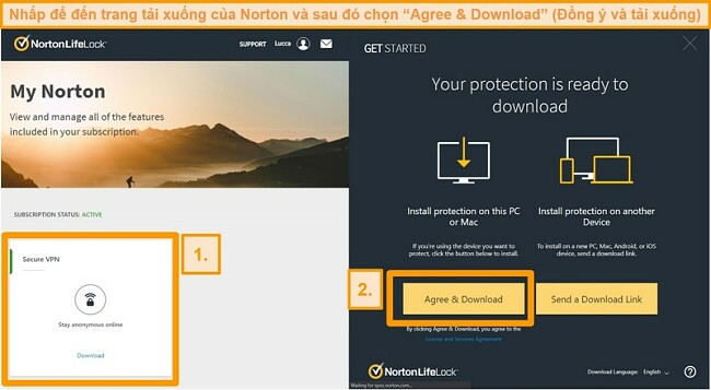 Ảnh chụp màn hình của Norton Secure VPNs My Norton và các trang tải xuống.