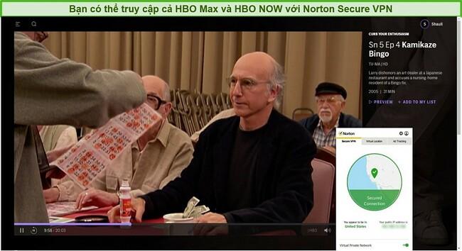 Ảnh chụp màn hình Norton Secure VPN bỏ chặn HBO Max và phát trực tuyến Kiềm chế sự đam mê của bạn.