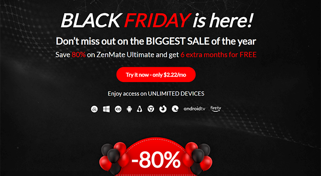 Screenshot of ZenMate's Black Friday/Cyber Monday Deal