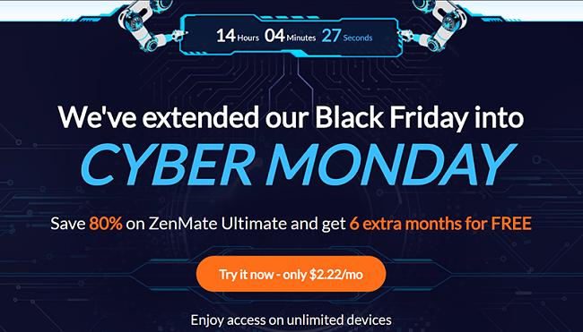 Screenshot of ZenMate's Black Friday/Cyber Monday Deal