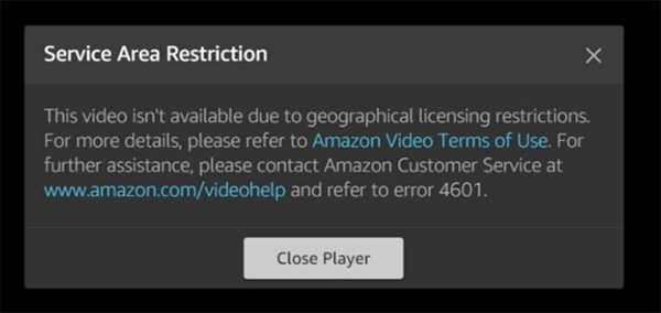 Amazon Prime Video geo restrictions