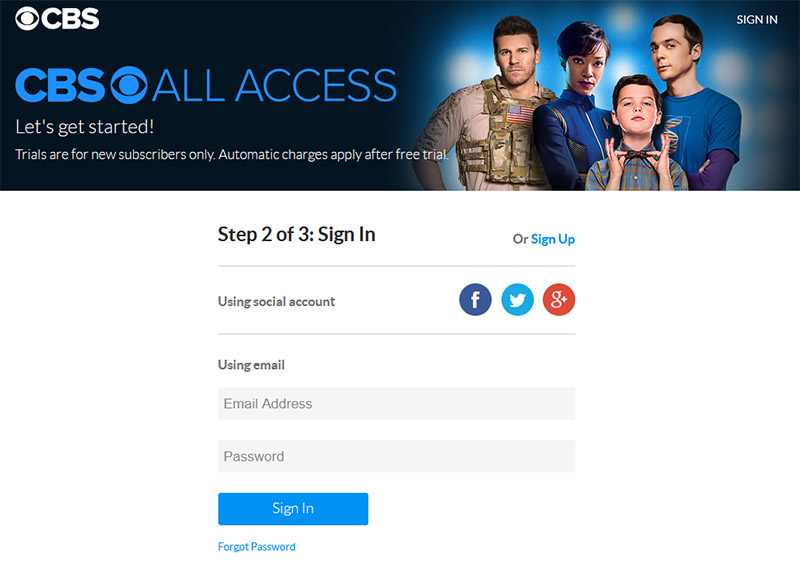 CBS all access sign in
