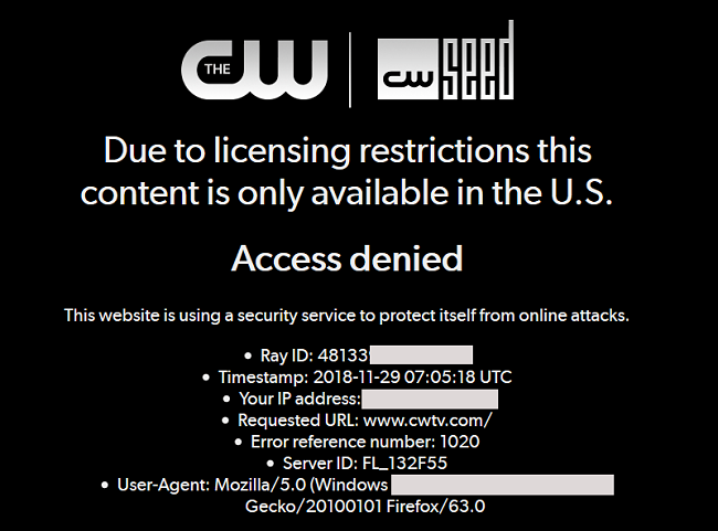 W TV website outside of America access is denied message