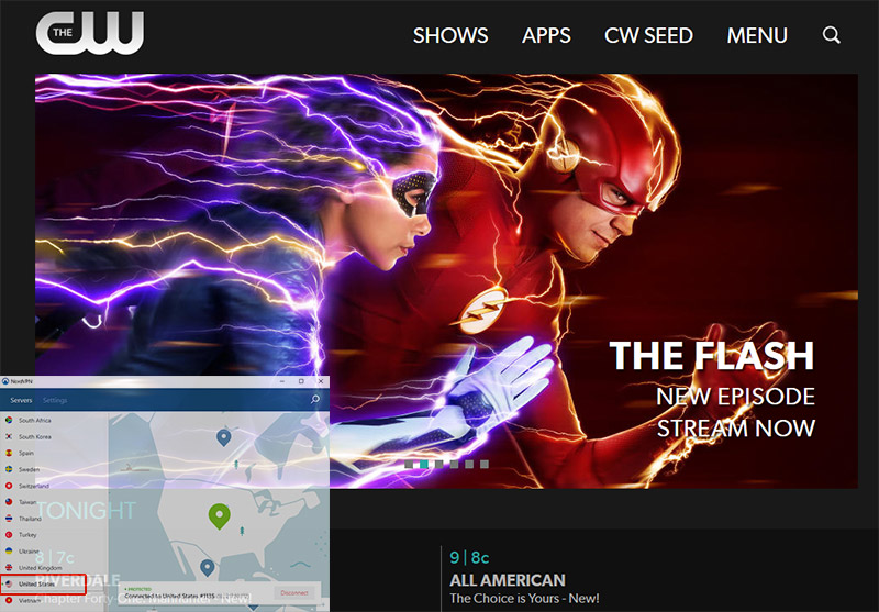visit the CW TV website outside of America