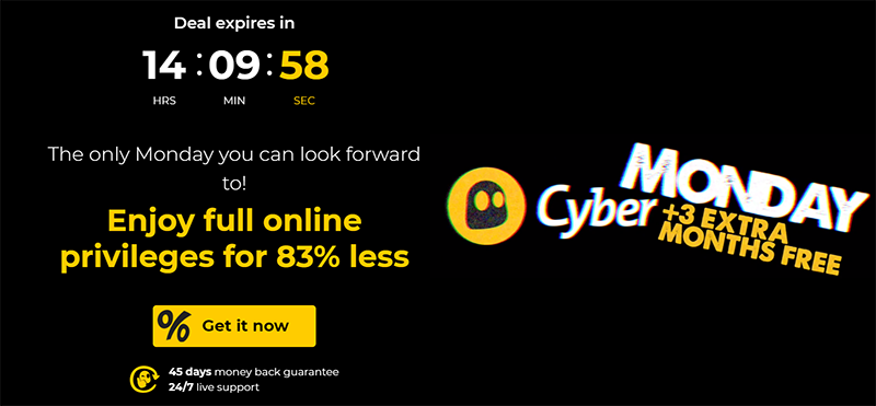 Screenshot of CyberGhost's Black Friday/Cyber Monday Deal