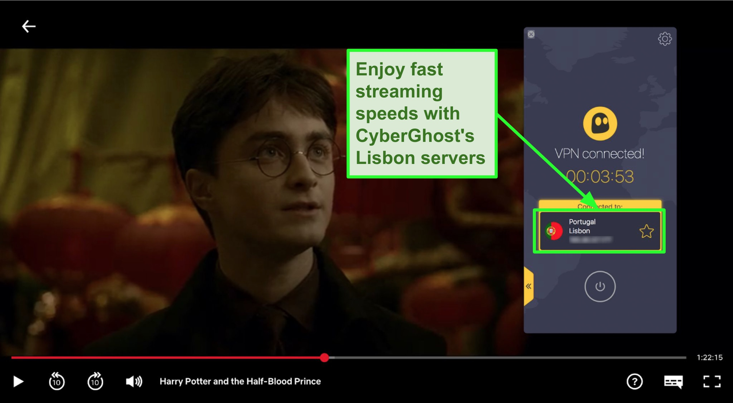 Screenshot of Cyberghost VPN connected to Portugal server and streaming Harry Potter on Netflix