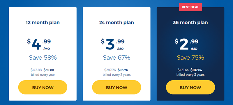 Screenshot of HMA's pricing table showing 75% off best deal