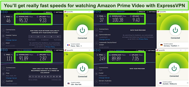 Screenshot of 4 ExpressVPN speed tests while connected to different global servers