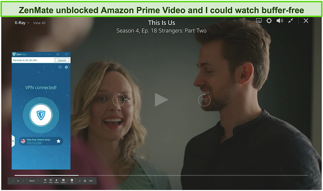 Screenshot of ZenMate unblocking This Is Us on Amazon Prime Video