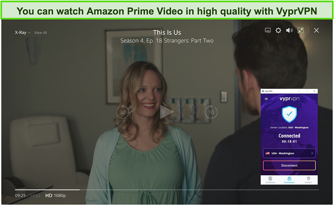 Screenshot of VyprVPN unblocking This Is Us on Amazon Prime Video
