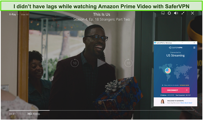Screenshot of SaferVPN unblocking This Is US on Amazon Prime Video