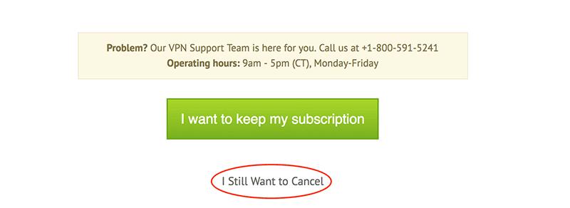 IPVanish vpn cancel subscription