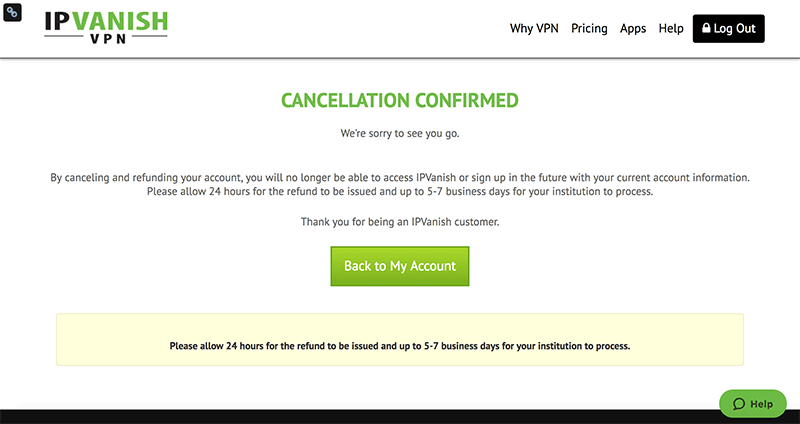 IPVanish vpn cancellation confirmed