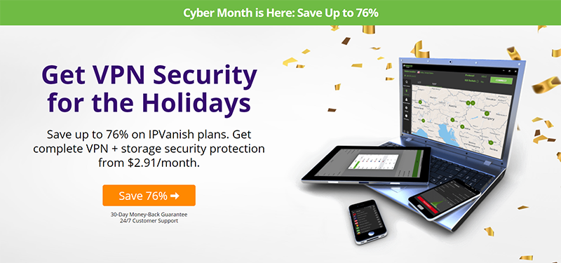 Screenshot of IPVanish 76% off deal