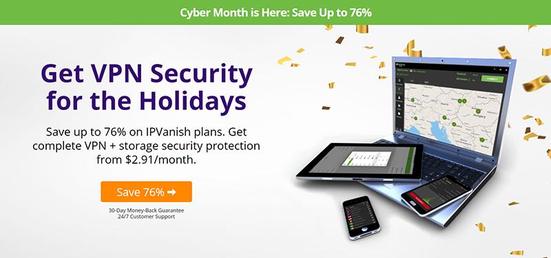 Screenshot of IPVanish 76% off deal