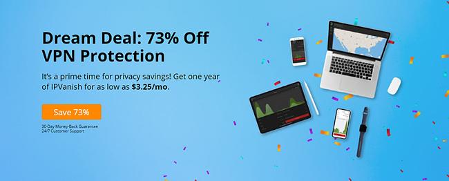Екранна снимка на IPVanish 73% отстъпка от сделката