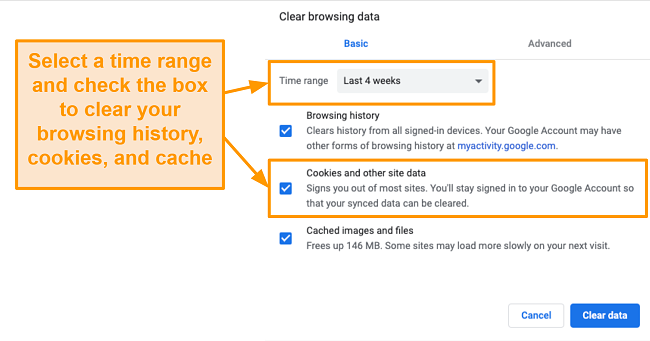 Screenshot of clearing cache and browsing history in Google Chrome