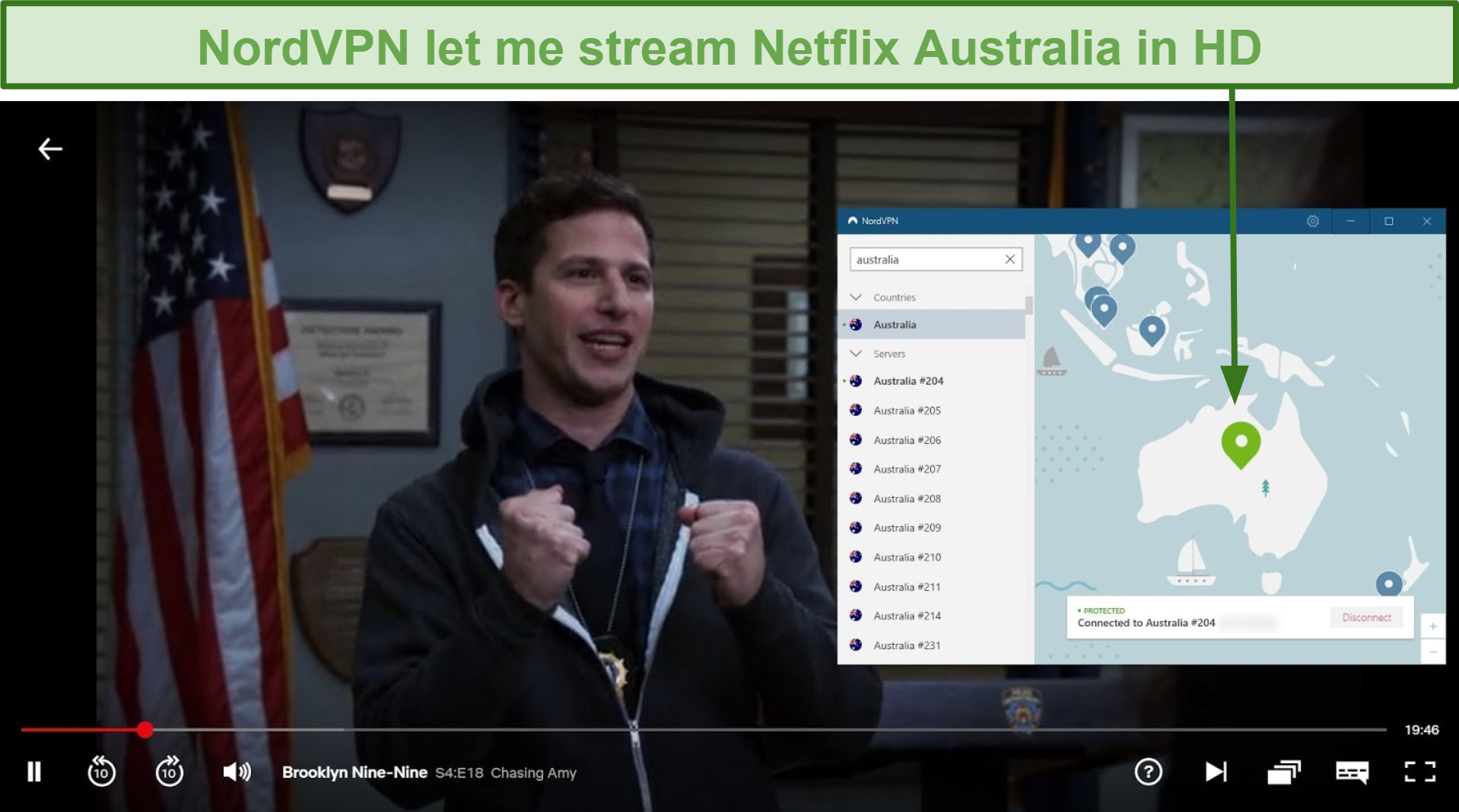Screenshot of NordVPN unblocking Netflix Australia while playing Brooklyn Nine-Nine