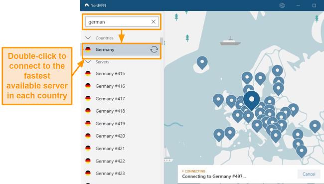 Screenshot of NordVPN Germany server selection