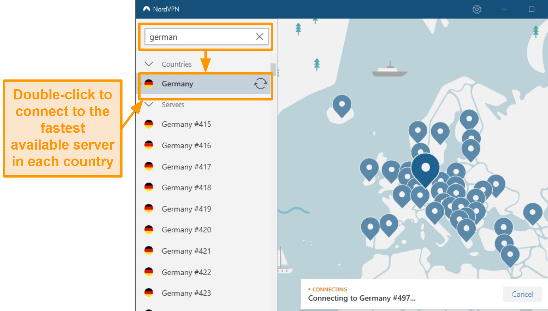 Screenshot of NordVPN Germany server selection