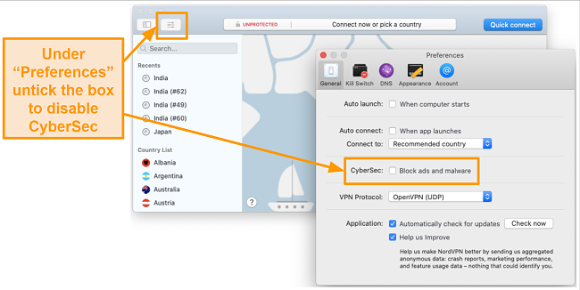 Screenshot of disabling CyberSec on the NordVPN app