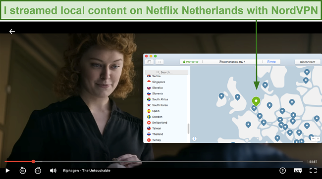 Screenshot of local content streaming on Netflix Netherlands with NordVPN