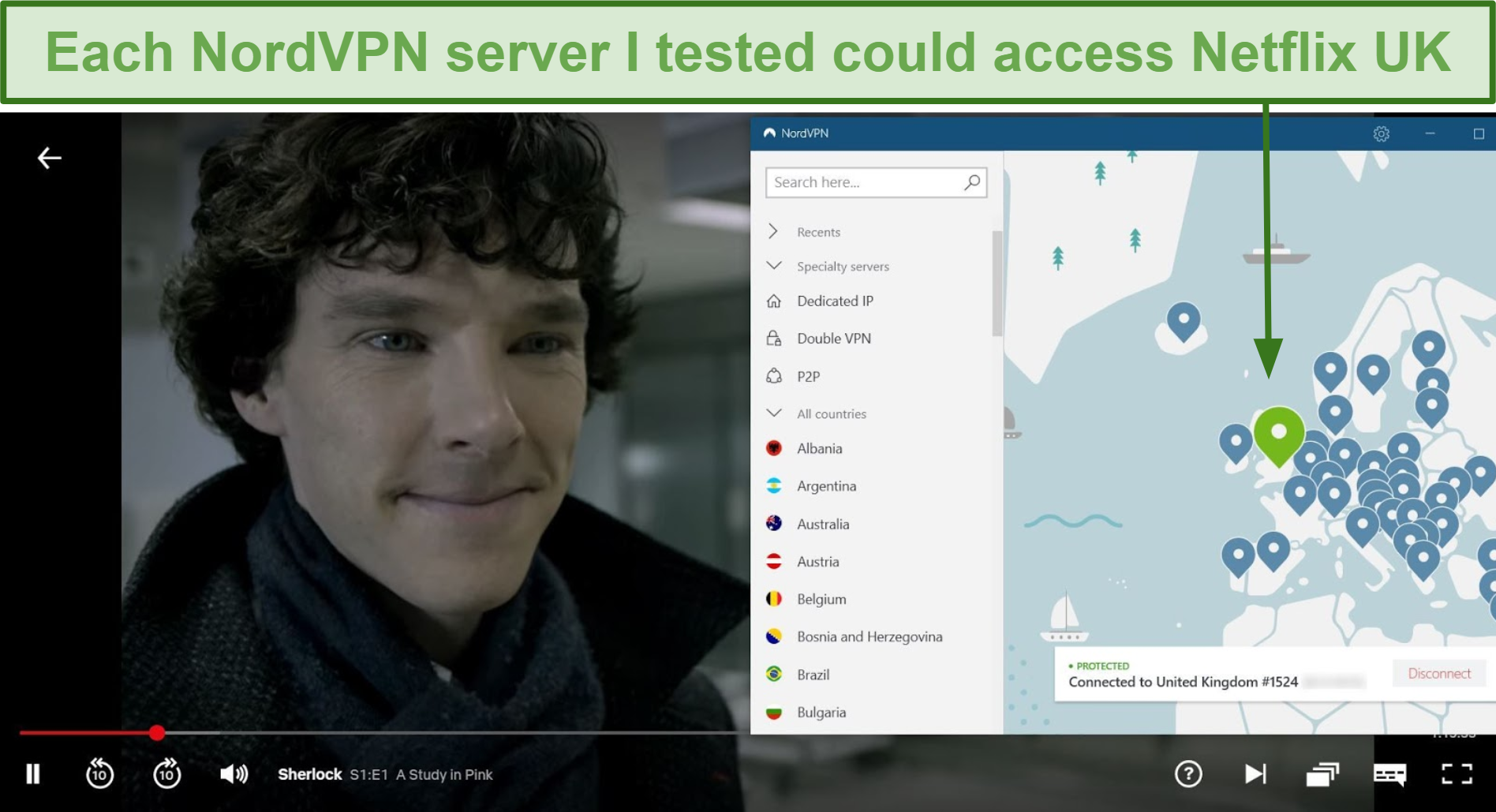 Screenshot of NordVPN unblocking Netflix UK while playing Sherlock