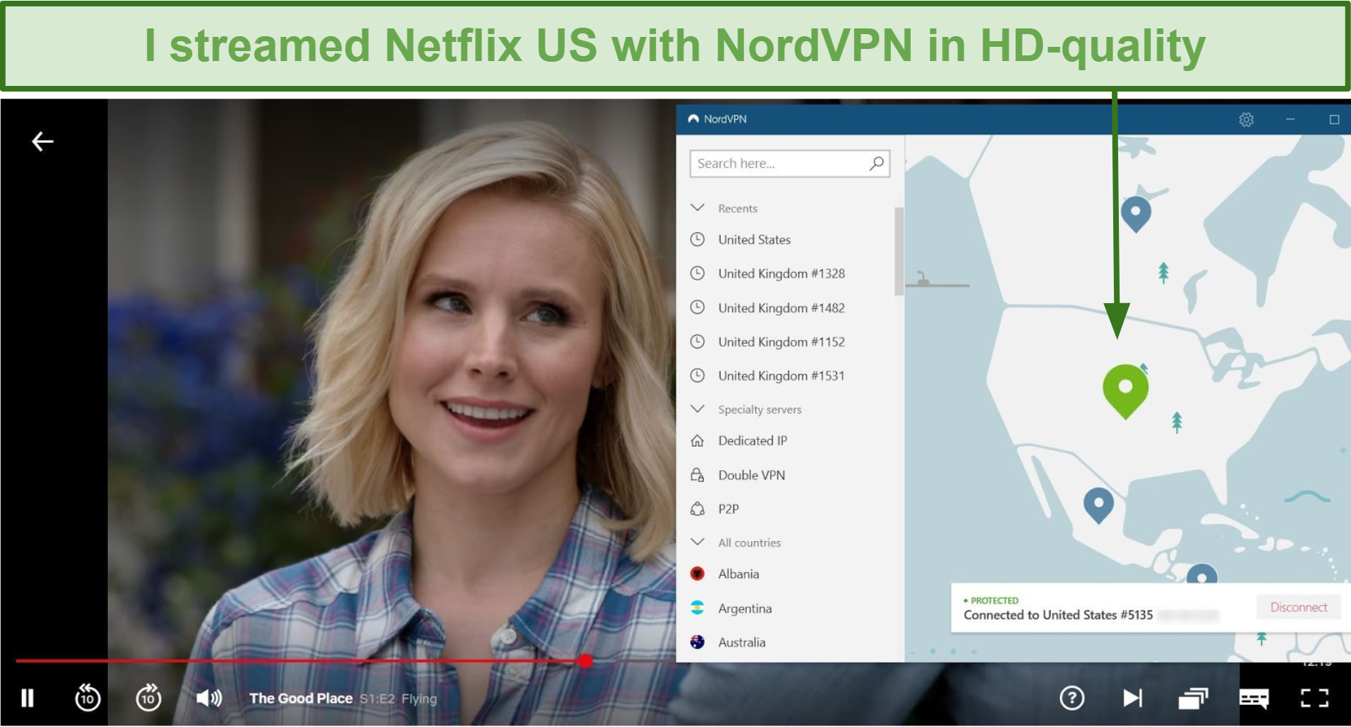 Screenshot of The Good Place streaming on Netflix with NordVPN connected to a US server
