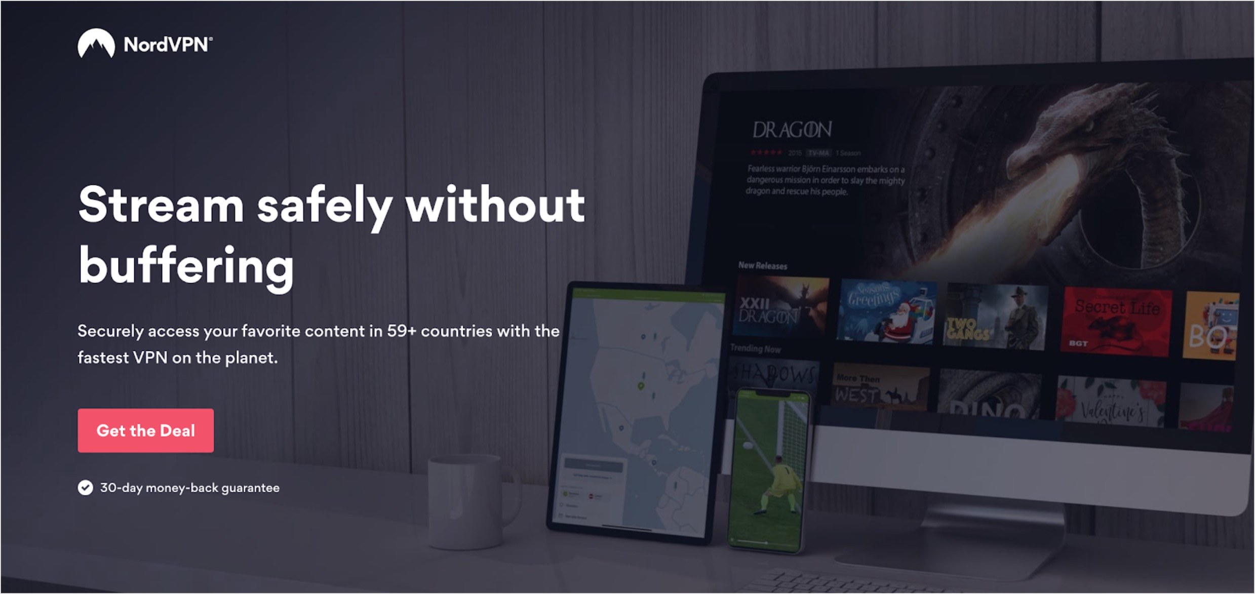 Screenshot of NordVPN signup landing page explaining their features which support streaming