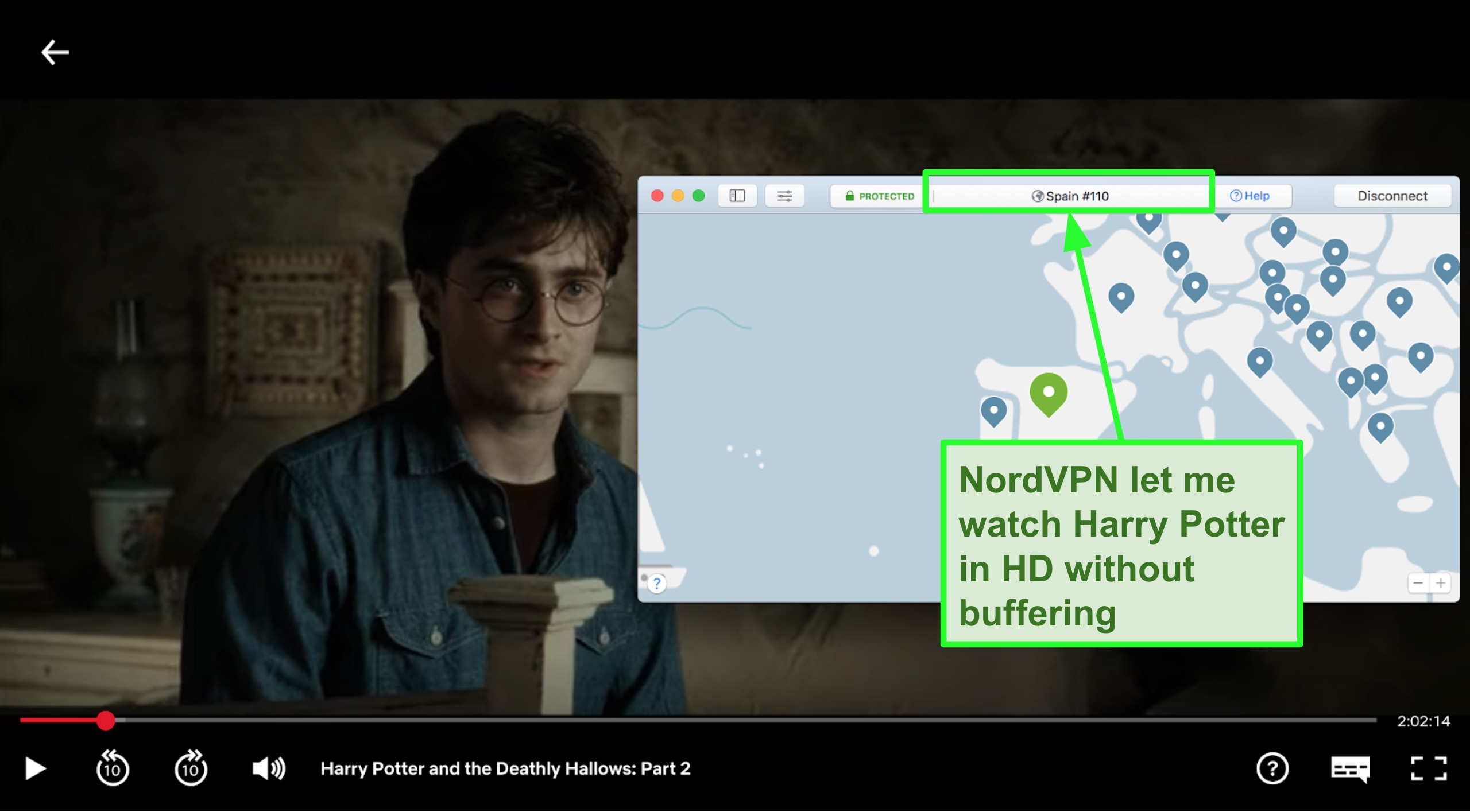 Screenshot of NordVPN connected to Spain server and streaming Harry Potter on Netflix