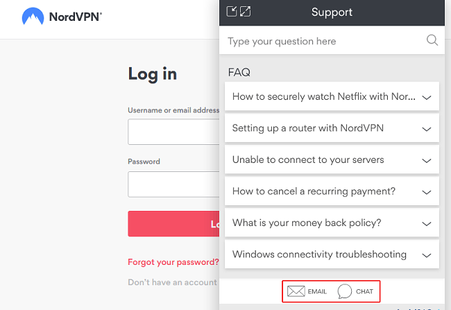 실시간 채팅 또는 이메일을 통한 NordVPN 연락처 지원