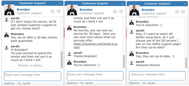 Nordvpn support chat